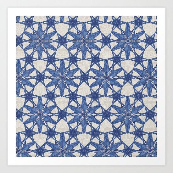 Delft snowflake Art Print
