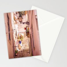 the narrow street in lisbon Stationery Cards