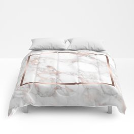 Luxury Rose-gold Faux Marble Comforters