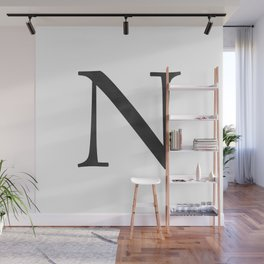Letter N Initial Monogram Black and White Wall Mural