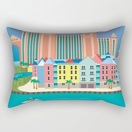 Nassau, Bahamas - Skyline Illustration by Loose Petals Rectangular Pillow