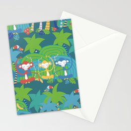 Monkeys Meditating in the Jungle Seamless Pattern Stationery Cards