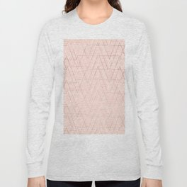 Modern white rose gold abstract geometric triangles on blush pink Long Sleeve T-shirt