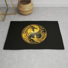 Yellow and Black Yin Yang Dragons Rug