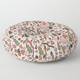 Hedgehog in Winter Print Floor Pillow