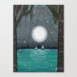 Adventures is Out there - Moonshine Lake  Canvas Print