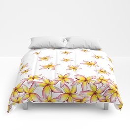Lillies - Handpainted pattern - white background Comforters