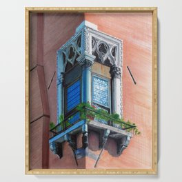 A window in Venezia: La finestra 1 Serving Tray