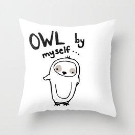 owl by myself Throw Pillow