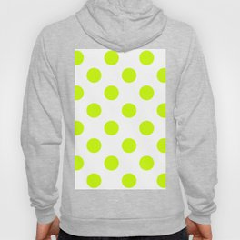 Large Polka Dots - Fluorescent Yellow on White Hoody