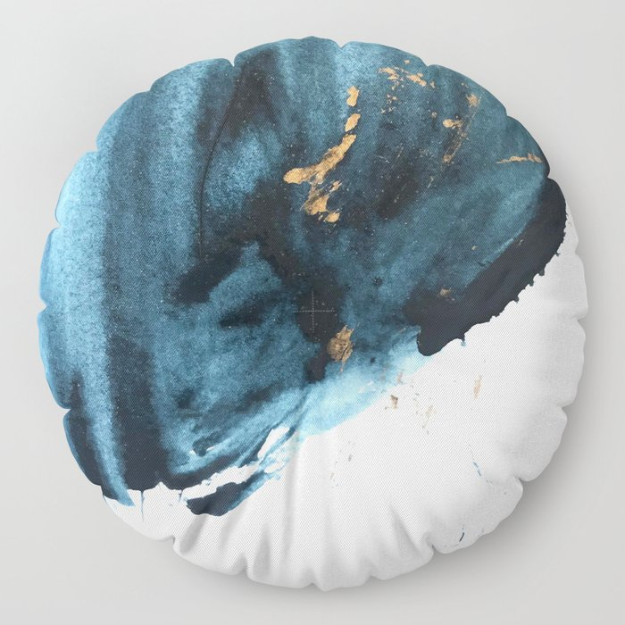 Sapphire and Gold Abstract Floor Pillow