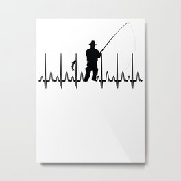 Angling Fishing Heartbeat Metal Print