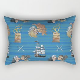Celebration on Board - Dark Blue Rectangular Pillow
