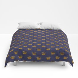 Mini Gold Crowns on Royal Blue Comforters