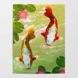 Koi Carp Fish Poster