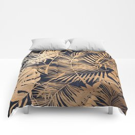 Whisper-Bronze Palm Leaves Pattern Comforters