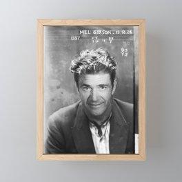 Mel Gibson Mug Shot Vertical Black And White Framed Mini Art Print