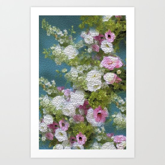 Mosaic Vintage Impressionism- Country Flower Love Joy Art Print