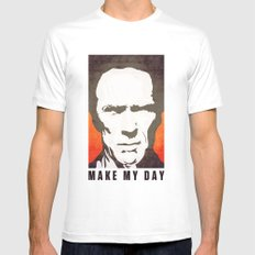 Go ahead make my day. White MEDIUM Mens Fitted Tee