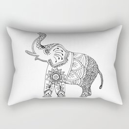 Elephant Drawing in black and white, mehndi style. Rectangular Pillow