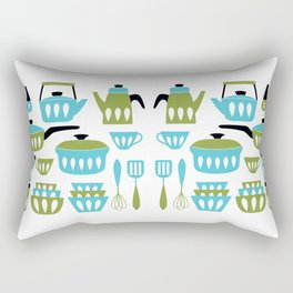 My Midcentury Modern Kitchen In Aqua And Avocado Rectangular Pillow