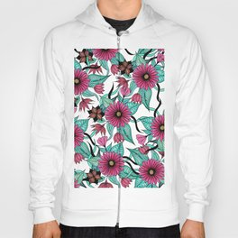 Girly Pink and Teal Watercolor Floral Illustration Hoody