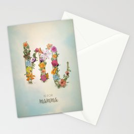 """Floral Monogram M - """"M is for mamma"""" - Mother's Day gifts Stationery Cards"""