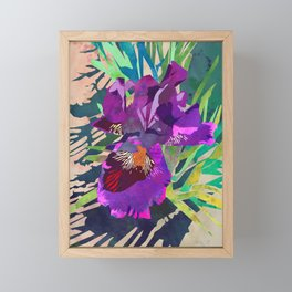 Watercolor Iris Flower with Shadows - Bright Purple & Pink Framed Mini Art Print
