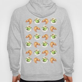 Watercolor Coffee and Croissant Pattern Hoody