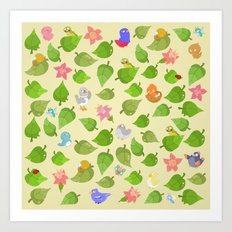 birds&leaves Art Print