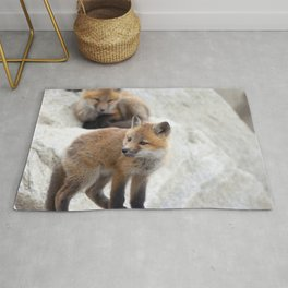 Watercolor Fox, Red Fox 20, Union Reservoir, Boulder County Rug