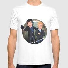 Sherlock Holmes and Watson cartoon White MEDIUM Mens Fitted Tee