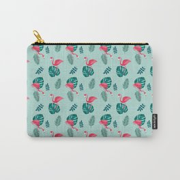 pink flamingo bird on blue and green tropical pattern Carry-All Pouch