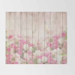Beautiful Pink Tulip Floral Vintage Shabby Chic Throw Blanket