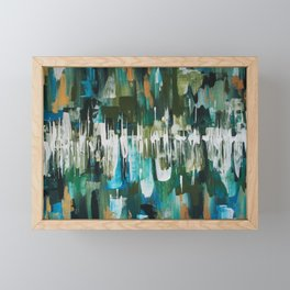Acrylic Blue, Green and Gold Abstract Painting Framed Mini Art Print