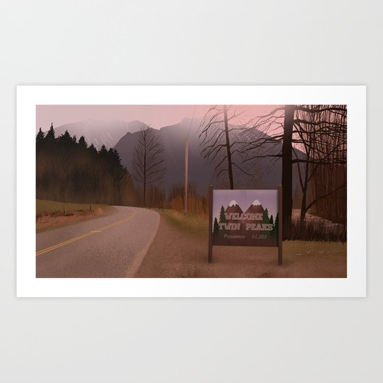 Road Sign Twin Peaks Art Print