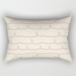 Vine Stripes Vintage Pink on Rose Petal Cream Rectangular Pillow