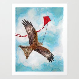 A Kite Flying a Kite Art Print