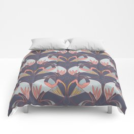 Art Deco Cranes - Lavender/Pink Comforters