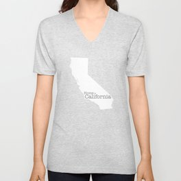 Home is California - state outline in gray Unisex V-Neck