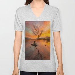 Llanberis Lake Lone Tree Snowdonia Unisex V-Neck