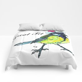 Great tit in white beret Comforters