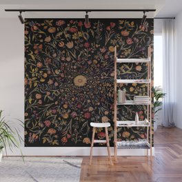 Medieval Flowers on Black Wall Mural