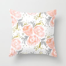 Sparkling Rosé flora Throw Pillow