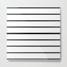Simple Black and White Lines Decor Metal Print