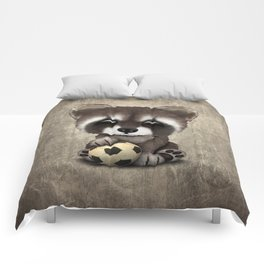 Cute Baby Raccoon With Football Soccer Ball Comforters