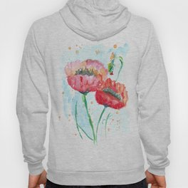 Poppy flowers no 4 Summer illustration watercolor painting Hoody