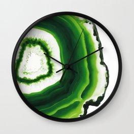 Green Agate Geode slice Wall Clock