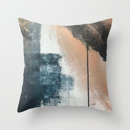 Honey 1: a pretty, minimal abstract in midnight blue, rose gold, and white Throw Pillow