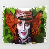 mad hatter Wall Tapestries featuring Mad Hatter by grapeloverarts
